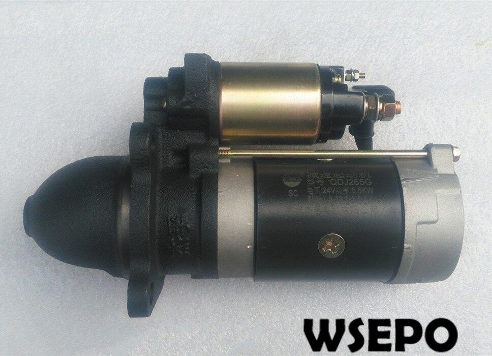 Top Quality! Starter/Electric Start Motor 24V 9T. Fits for 4105/4108/4110 4 Cylinder 04 Stroke Water Cooling Diesel Engine