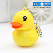 Lovely Yellow Duck Keychain LED Luminous Key Sound Flashlight Keyring Toy