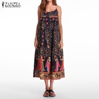 ZANZEA Women 2017 Summer Bohemian Casual Loose Dress Sexy Strapless Sleeveless Backless Folk Print Dresses Vestidos