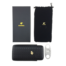 COHIBA Braided stripe Leather Travel Cigar Case Portable 3 Tube Holder Humidor with Silver Stainless Steel Sharp Cutter