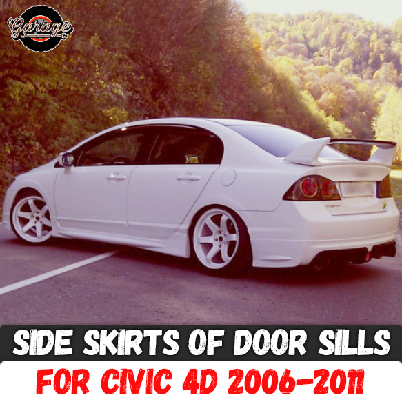 Side skirts case for Honda Civic 4D 2006 2011 of door sills ABS plastic pads body