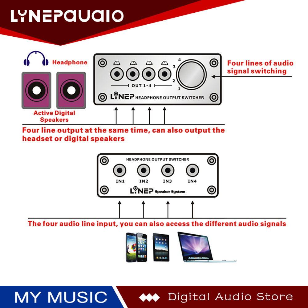 Купить с кэшбэком Audio Switcher 4 Input and 4 Output Switches 4 Sets of Stereo Signal Switching Input 4 Sets of Stereo Simultaneous Output