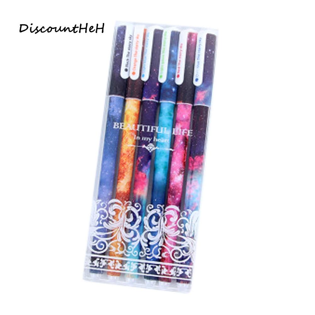 6 pcs/set Cute pens ballpoint pens Black color gel pen set Cs