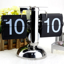Digital Clock Home Decoration Table Clock Small Scale Desk Clock Retro Flip Over Clock Stainless Steel Flip Internal Gear Quartz