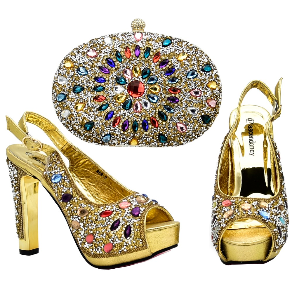4.8 high heel sandals shoes gold color shoe and bag set fashion new italian design shoes and bag to match women party SB8200-1 fashion women s sandals with metal and stiletto heel design