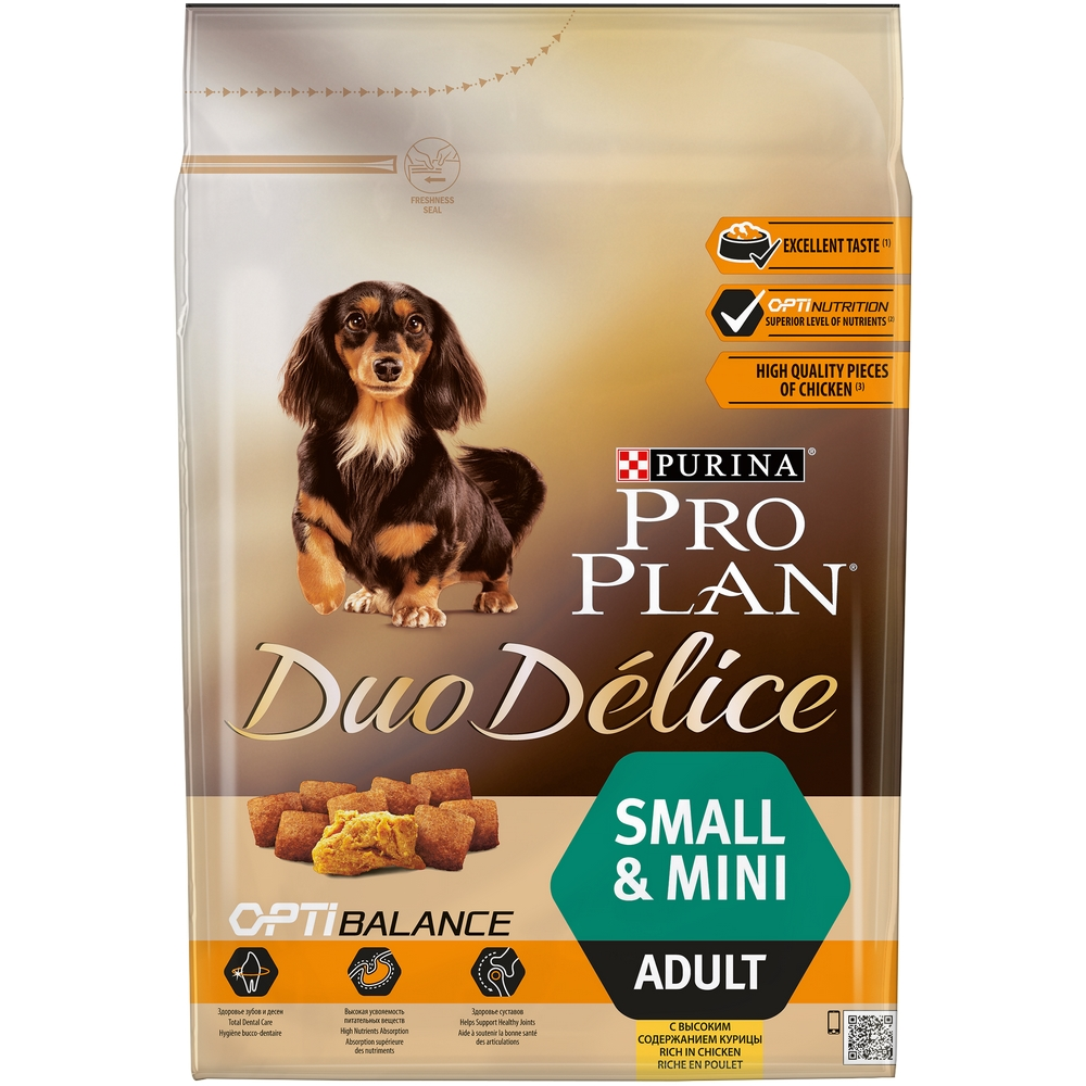 Dog Dry Food Pro Plan Duo Delice  Small & Mini for adult dogs of small and mini breeds, Chicken, 2,5 kg. dry food pro plan duo delice for adult dogs with chicken and rice 10 kg