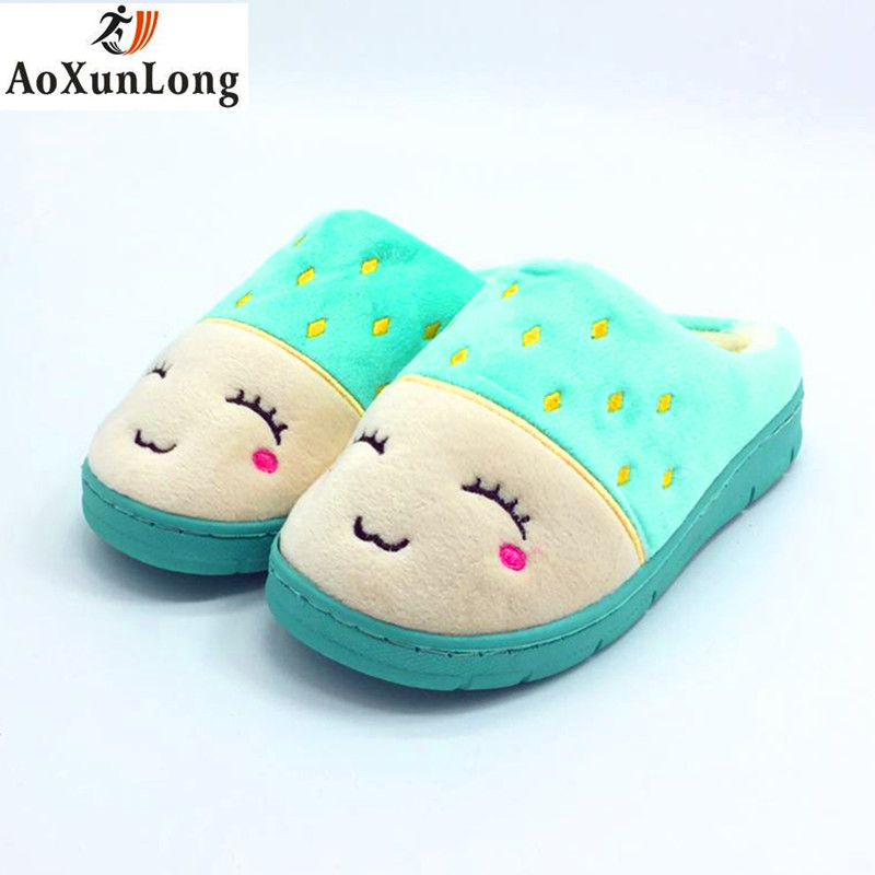 Quality Plush Winter New Women Slippers Lovely Cartoon Home Flat Warm Slippers Women Red Blue Clamshell Slide Indoor Casual Shoe plush flat indoor cartoon flock adult furry slippers fluffy winter fur animal shoes rihanna house home women adult slipper anime