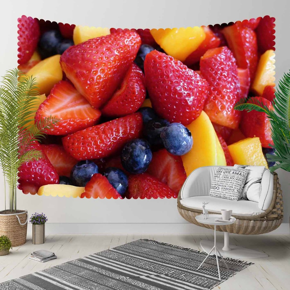 Else Tropical Fruits Yellow Pineapple Red Strawberry 3D Print Decorative Hippi Bohemian Wall Hanging Landscape Tapestry Wall Art