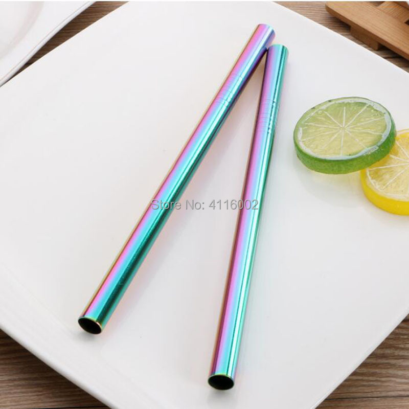 500pcs 215*12mm Stainless Steel Straw 5 Colors Metal Colorful Drinking Reusable Straight Large Straws For Juice Coffee