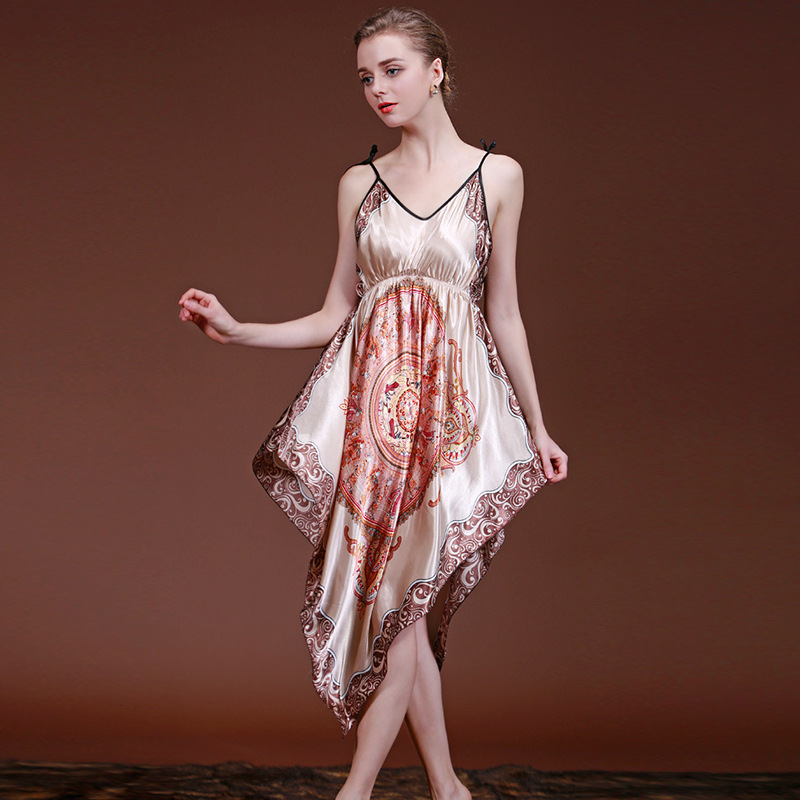 SSH028 Women Nightwear Summer Sexy V-neck Night Dress Home Suit Satin Silk   Nightgown     Sleepshirts   Spaghetti Strap Lounge Female