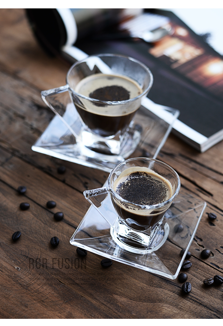 Crystal European espresso coffee cup simple transparent heat resistant glass crystal teacup water cup small plate 2pcs/set