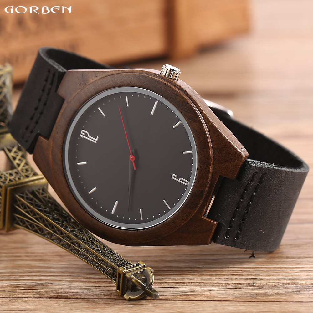 Casual Black Analog Dial Natural Wood Watch With Soft Leather Band Wooden Quartz Wristwatches For Men And Women In Gift Box cylinder bore 45 2mm 58cc 5800 gasoline chainsaw cylinder piston kit with muffler cylinder gasket and needle bearing