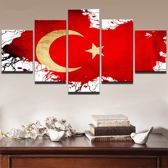 Canvas Paintings Home Decor Modular Wall Art 5 Pieces Flag Of Turkey Posters Top Rated Print Pictures Framework In Painting Calligraphy