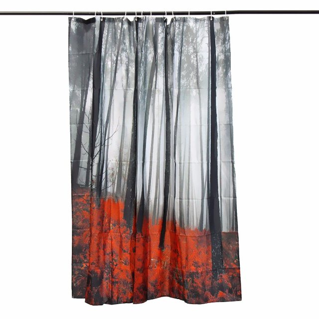 Xueqin 175x175cm Waterproof Mystic Woods Trees Forest Print Fabric Bath Shower Curtain With Hooks For Bathroom