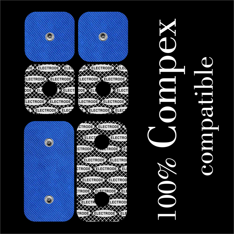 TENSPAD SILVER - 6 Electrodes For COMPEX (4 Electrodes 50x50mm + 2 Electrodes 50x100mm With 2 SNAP)