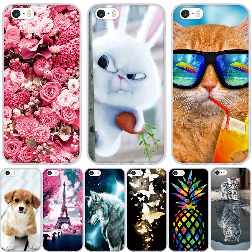 Phone Case For iPhone 5S Cover Soft Silicon Shell For iPhone 5 5s 6 6s 7 8 x Case Cute For Apple iPhone 5 5S SE 6 6s 7 8 X Cases iPhone