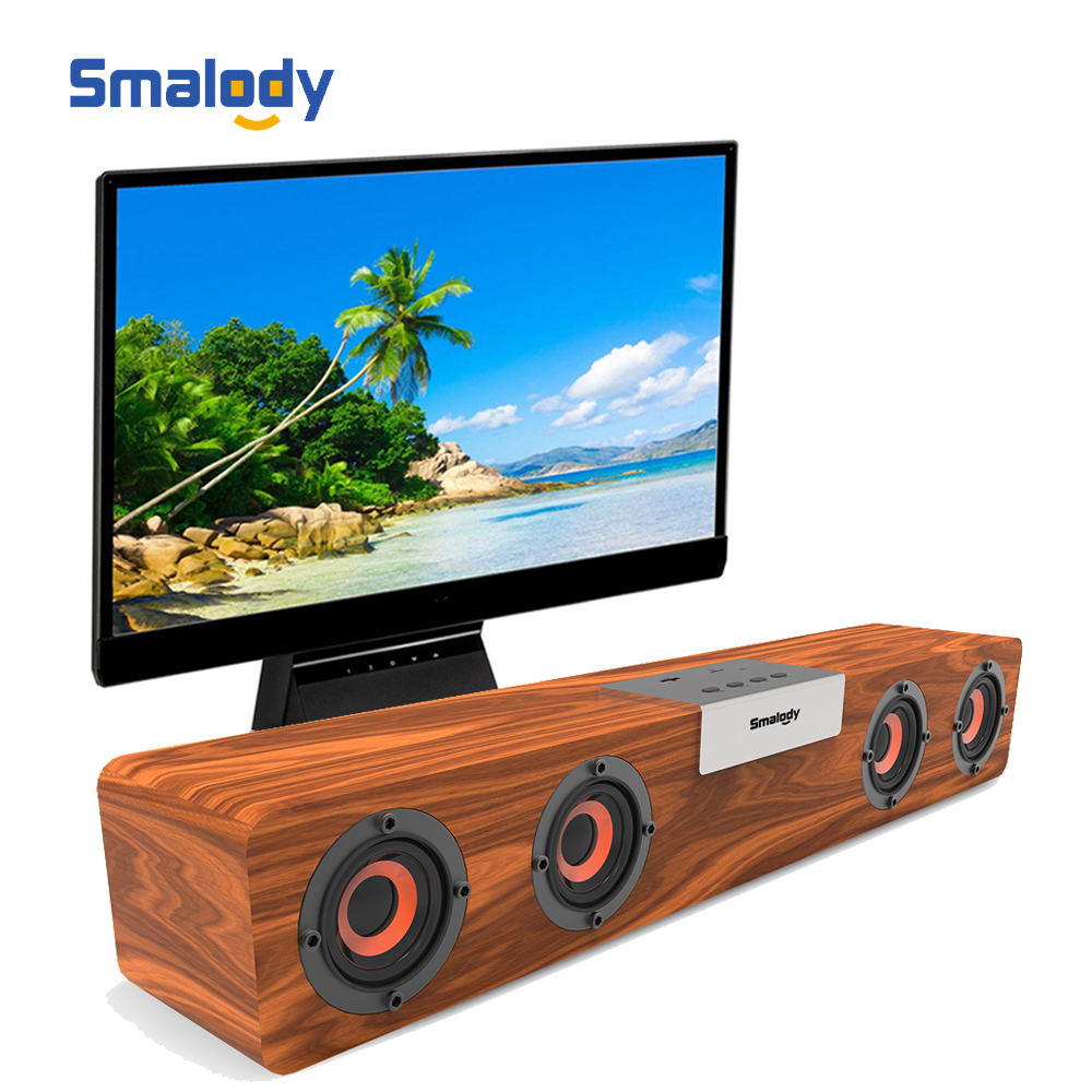 Smalody SL 90H 20W TV Soundbar Wireless Bluetooth Dpeaker Wooden Stereo Bass Portable Subwoofer PC Computer