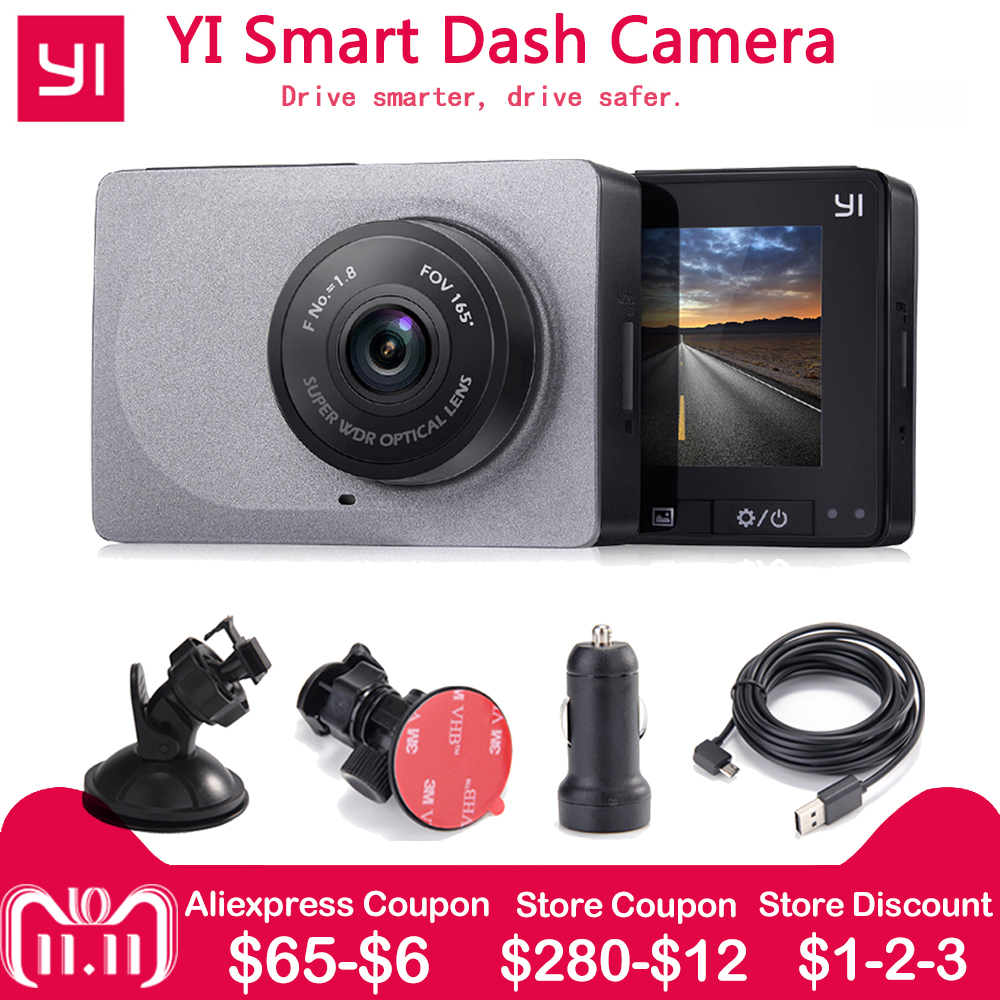 [International Edition]Xiaomi YI Smart Car Camera 1080P 60fps 165 Degree Detector 2.7 Dash Camera ADAS Safe Reminder YI Car DVR xiaomi yi smart car dvr 1080p 160 wifi 240mah for android