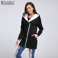 Women Hoodies Warm Fleece Cotton Coats 2017 Autumn Winter Zip Up Outerwear Hooded Sweatshirts Casual Long