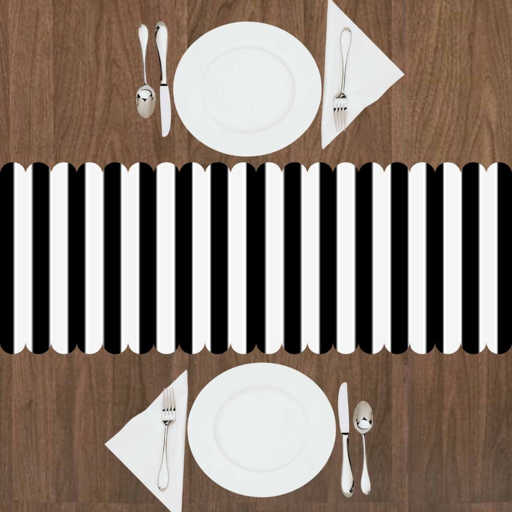 Else White Black Stripe Lines Geometrics Nordec 3d Print Pattern Modern Table Runner For Kitchen Dining Room Tablecloth