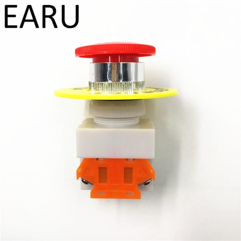 Красный грибной колпачок 1NO 1NC DPST Аварийная остановка кнопочный переключатель переменного тока 660 В 10 А переключатель оборудование лифт с фиксацией самоблокирующийся