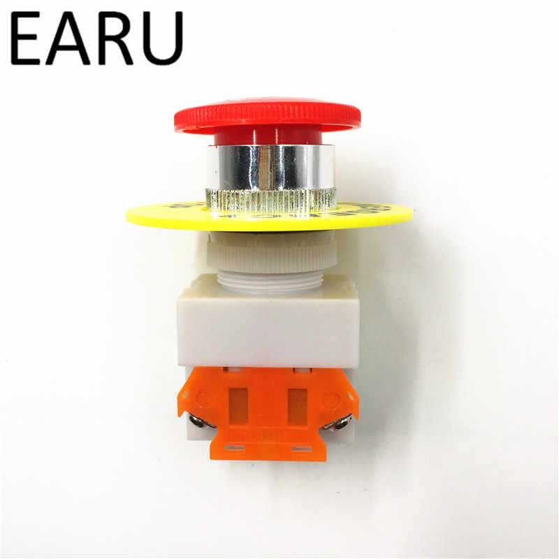 غطاء الفطر الأحمر 1NO 1NC DPST توقف الطوارئ مفتاح بـزر دفع التيار المتناوب 660 فولت 10A معدات التبديل رفع مصعد الإغلاق الذاتي قفل