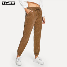 JYSS spring casual straight pants women warm purple navy gray corduroy pants mid waist long elastic trouser pantalon femme 81730 jyss autumn new casual elastic waist pants women belt yellow gray plaid pants long straight trousers women active wear 81221