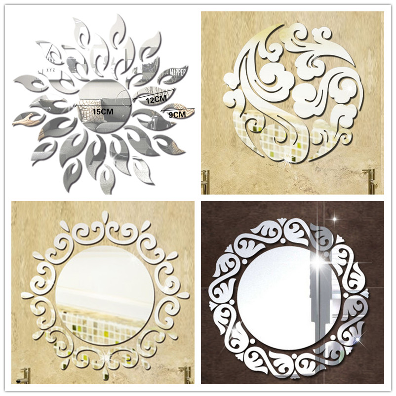 Sun Flower Switch Cloud Crystal Acrylic Mirror Decorative Sticker 3D DIY Wall Sticker Wall Decal Home Decoration Bathroom αυτοκολλητα τοιχου καθρεπτησ