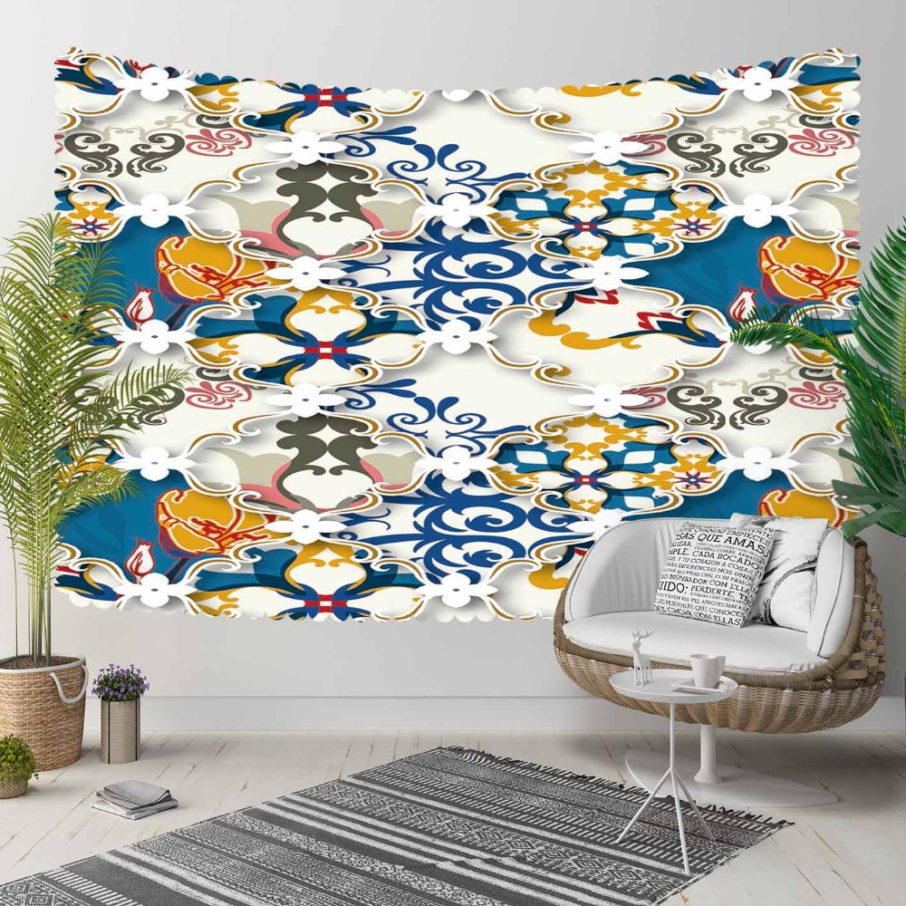 Else Blue Yellow Gray Abstract Ethnic Vintage Retro 3D Print Decorative Hippi Bohemian Wall Hanging Landscape Tapestry Wall Art