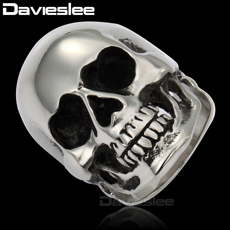 Davieslee 316L Stainless Steel Retro Black Silver Tone Skull Ring For Mens Boys Ring wholesale Jewelry DLHR13