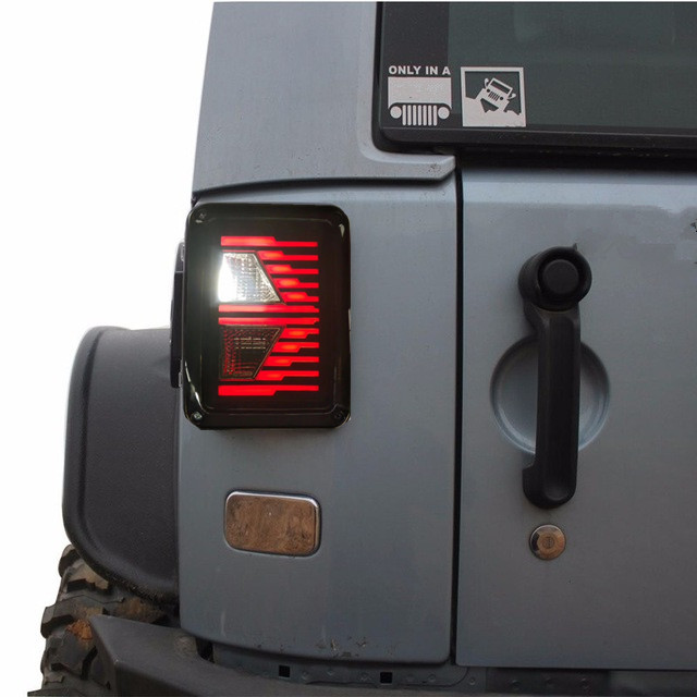 Smoked LED Tail Lights 2007-2017 For Jeep Wrangler Tail Light Brake Reverse Light Rear Back Up Turn Singal Lamp with DRL
