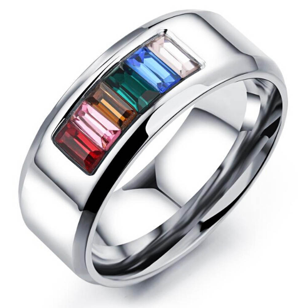 Titanium steel half the color gay ring Comrade six color six sizes rainbow rings Like minded gay men and women jewelry