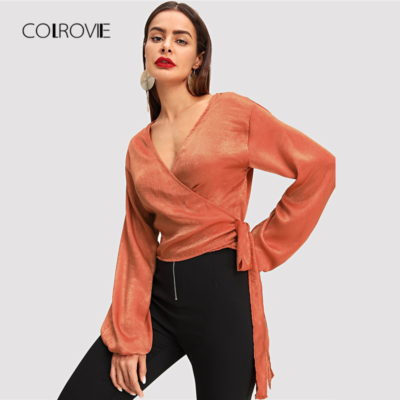 COLROVIE Orange Wrap Elegant   Blouse   Women 2018 Autumn Long Sleeve Girls Work   Blouse     Shirt   Fashion Sexy Women Tops And   Blouses