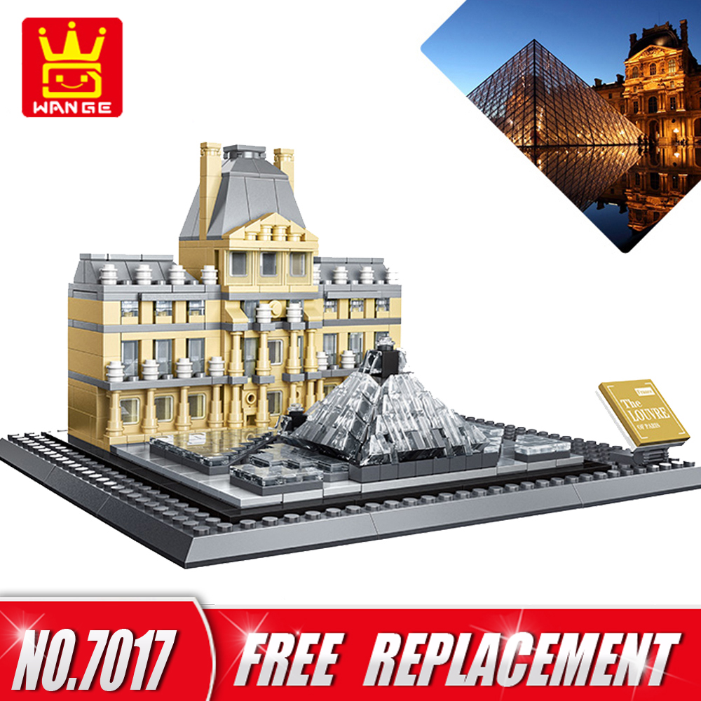WANGE The Louvre of Paris Building Blocks Bricks Architecture Toys DIY Educational Kids Toys Home Decor NO.7017 wange louvre of paris building blocks set model small architecture series 2017 classic educational toys for children gifts