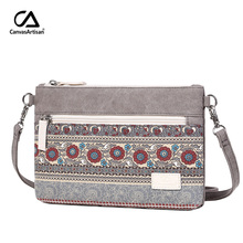 Canvasartisan Women Shoulder Bag Canvas Retro Style Handbags Female Floral Small Messenger Bag Casual Crossbody Bags women messenger bags flap bag lady canvas cartoon owl printed crossbody shoulder bags small female handbags
