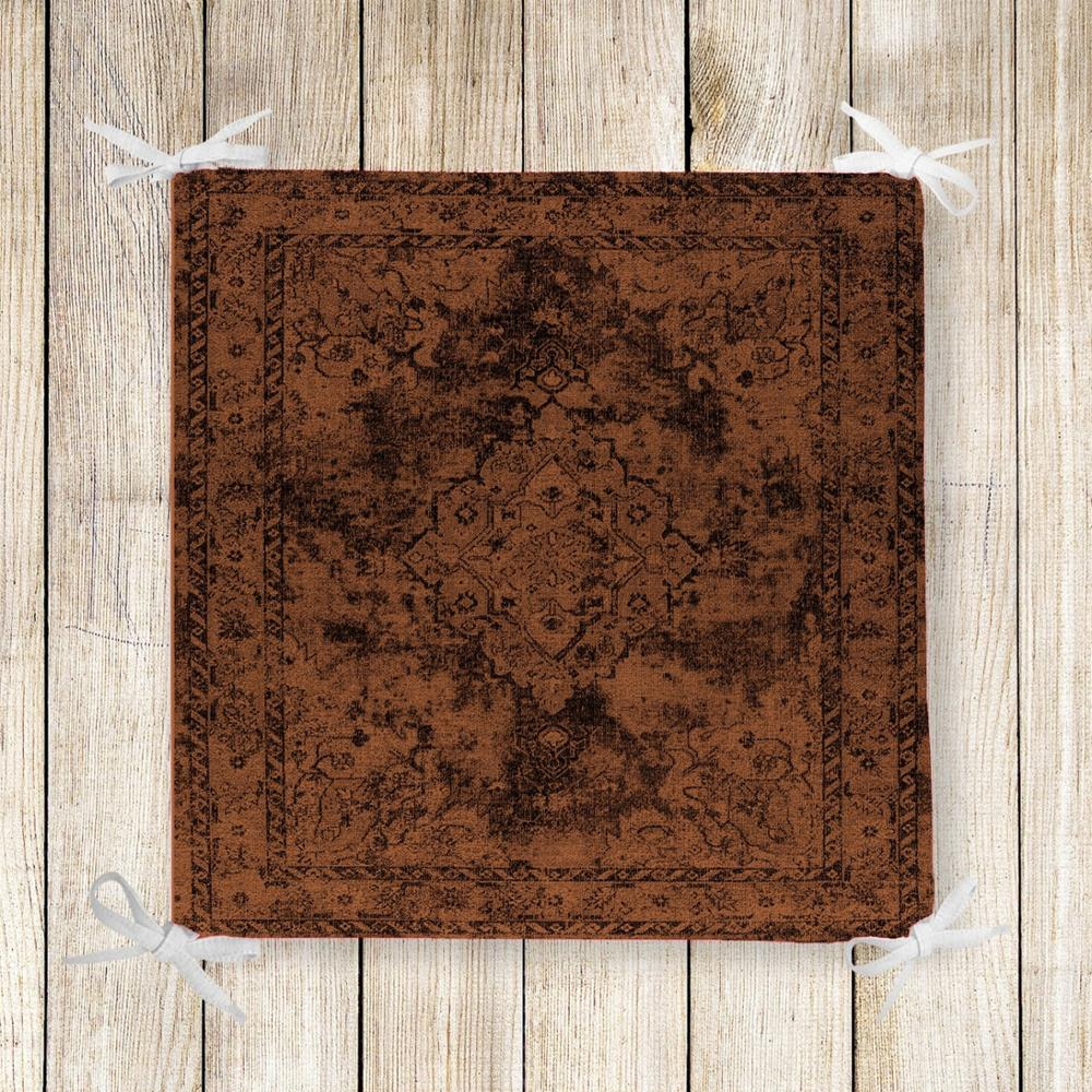 Else Brown Tradional Ethnic Retro 3d Print Square Chair Pad Seat Cushion Soft Memory Foam Full Lenght Ties Non Slip Washable