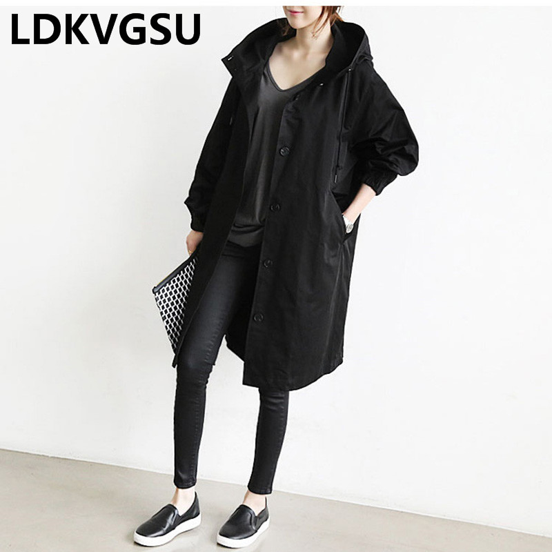 2019 Spring Autumn New Women Solid Color Loose Windbreaker Hooded Long Wild Single-breasted Female   Trench   Coat Large Size Is207