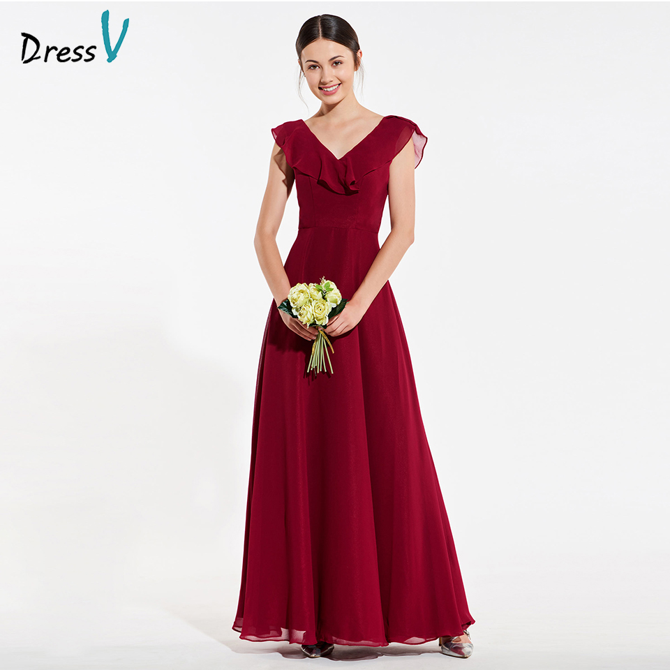 Dressv elegant date red spaghetti straps a line bridesmaid dress backless wedding party women floor length bridesmaid dress