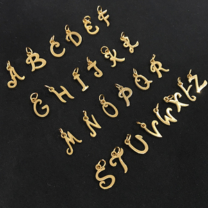 Image 3 - 26pcs/lot From A to Z Grace Moments Initials Alphabets Pendants Stainless Steel Gold Letter Whole 26 Letters Charm DIY Jewelry