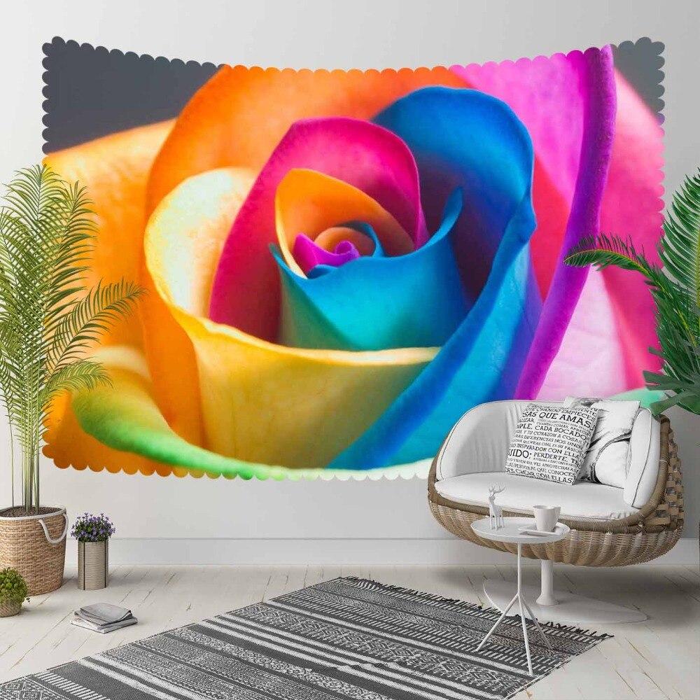 Autre bleu jaune Rose grande Rose fleurs Floral impression 3D décoratif Hippi bohème tenture murale paysage tapisserie mur Art