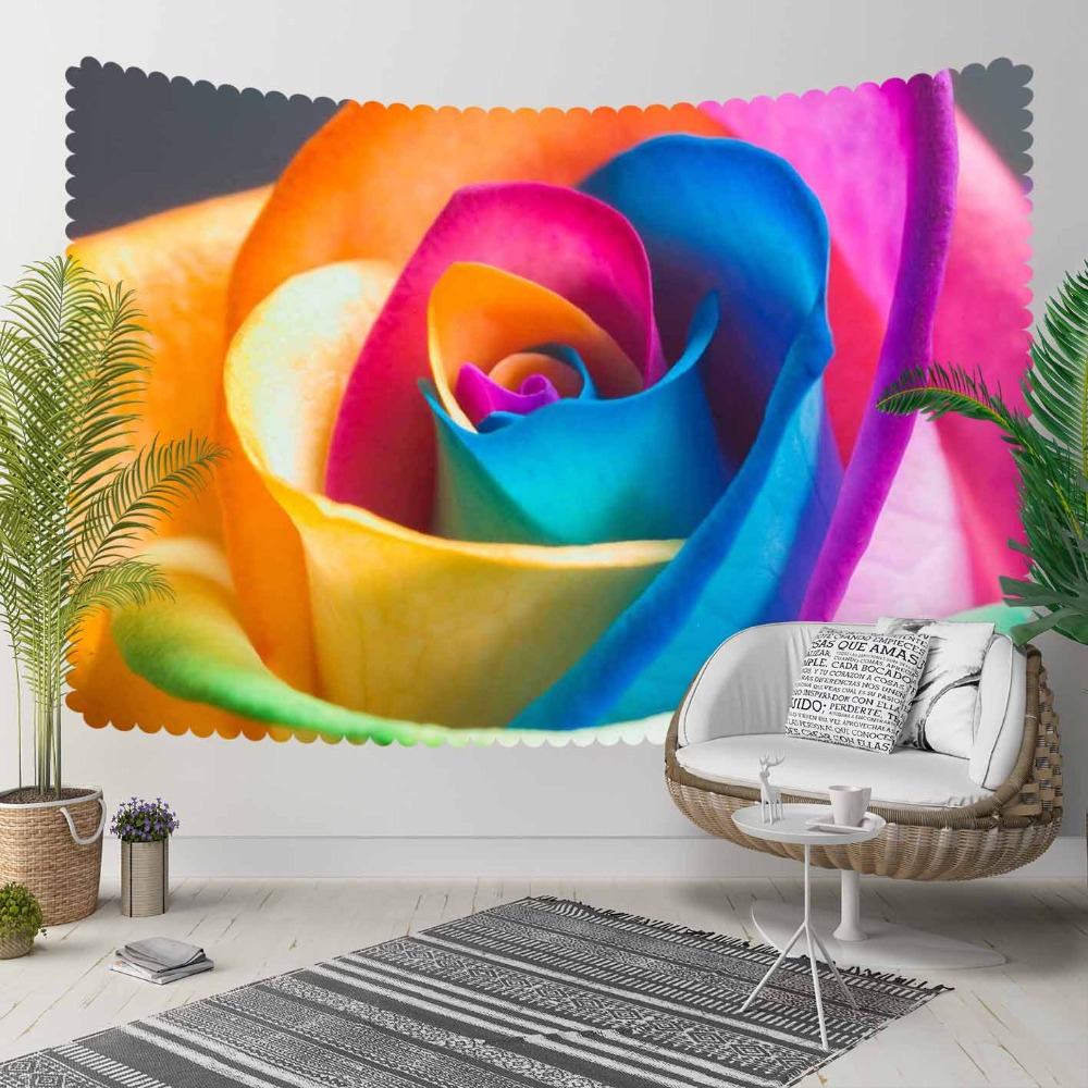 Else Blue Yellow Pink Big Rose Flowers Floral 3D Print Decorative Hippi Bohemian Wall Hanging Landscape Tapestry Wall Art