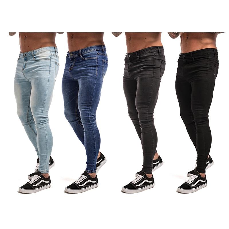 Gingtto Skinny Jeans para hombres negro Streetwear Hip Hop Jeans Hombre Slim Fit moda Biker tobillo Tight Dropshipping zm01
