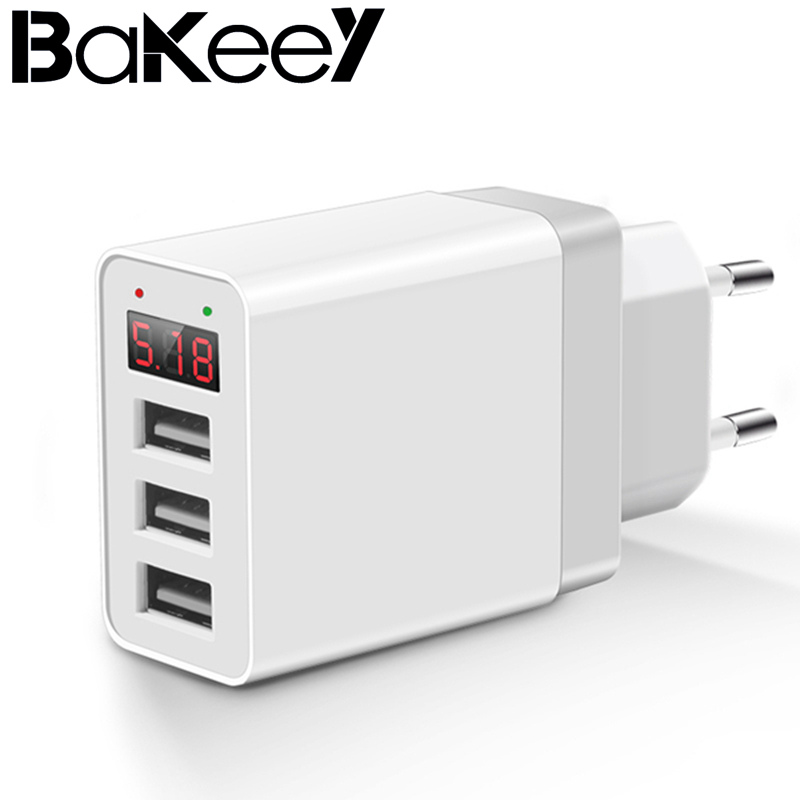 High Quality Bakeey 5V 2.4A LED Display 3 Ports EU Plug Fast Travel Wall Charger For i-Phone X 8 Plus S8 Xiaomi 6 Black White