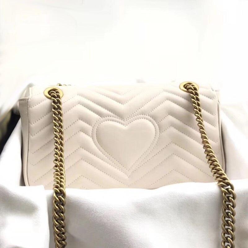 高級女性は本物の革ファッション女性のメッセンジャーハート形縫合バッグ高品質チェーンショルダークロスボディバッグ  グループ上の スーツケース & バッグ からの トップハンドルバッグ の中 3