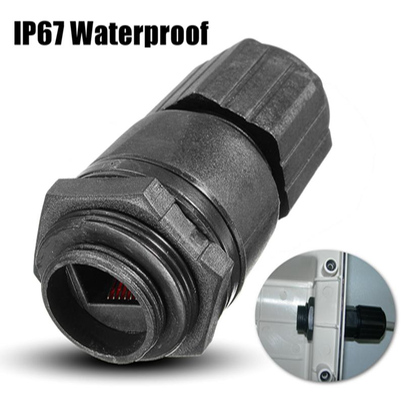 M25 Ethernet Network LAN RJ45 Outdoor For AP Waterproof IP67 Nut Connector Plug Socket For Double Cable DC 0-24V 20 x m20 ethernet lan rj 45 rj45 nut ap waterproof connector dc 0 24v black