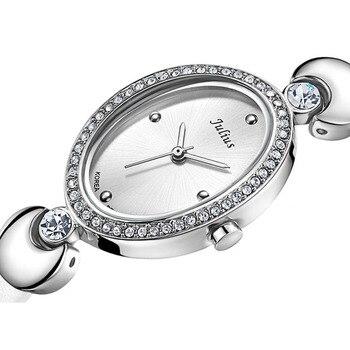Female Analog Quartz Round Wrist Watch Japan PC21 Movement Black Faux Leather Strap White Dial Water Resistant