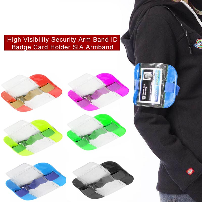 Luxury Quality Id Card Holder Transparent Arm Band Badge Card Sleeve High Visibility PVC Badge Holder Accessories