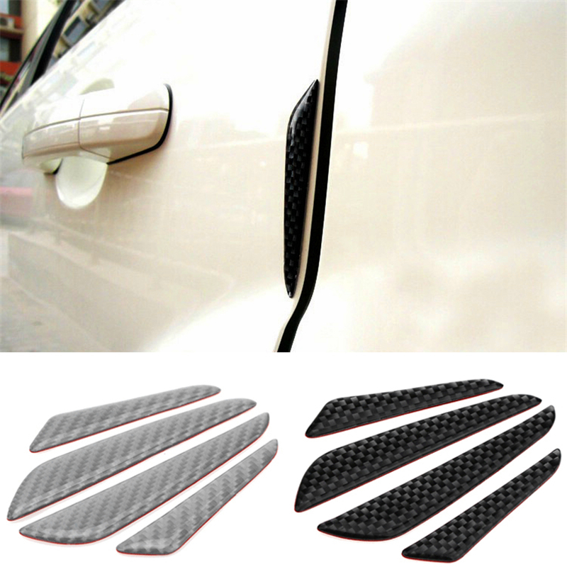 4pcs/lot Carbon Fiber Car Front Bumper Lip Car Stickers Splitter Fin Air Knife Auto Body Kit Car Spoiler Canards Valence Chin 2 5m car rubber carbon stickers for skoda fabia octavia front lip bumper decoration for vw auto exterior stickers for toyota