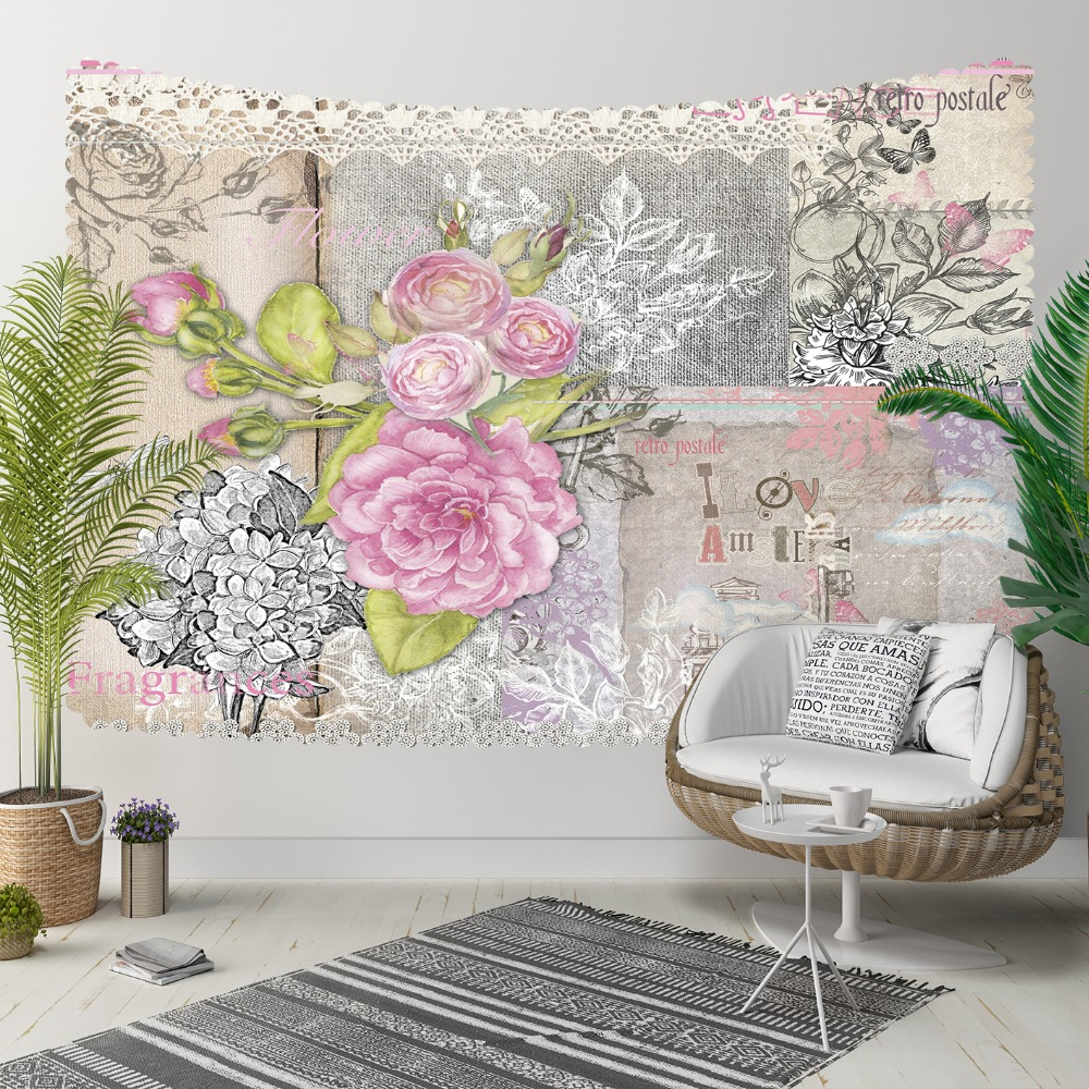 Else Pink Roses Vintage Gray White Floral Green Leaf 3D Print Decorative Hippi Bohemian Wall Hanging Landscape Tapestry Wall Art