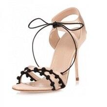 Women High Heels Sandals Gladiator Women Khaki Suede Lace Up Stiletto Heels Sandals Dress Shoes 2019 Summer New Look цена